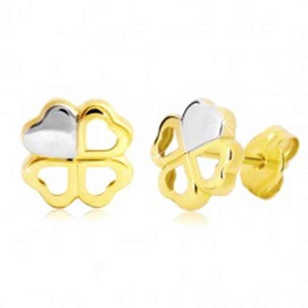Šperky eshop Náušnice v 14K zlate - dvojfarebný štvorlístok pre šťastie, puzetky