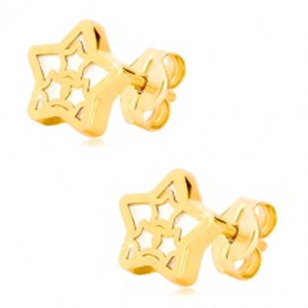 Šperky eshop Náušnice v 14K žltom zlate - hviezda s motívom hviezdičiek a perleťou