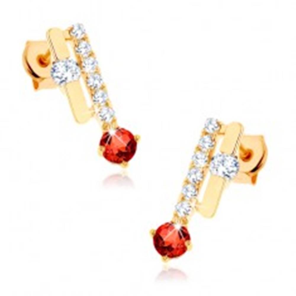 Šperky eshop Náušnice v žltom 14K zlate - dva pásiky, oranžovočervený granát, číre zirkóny