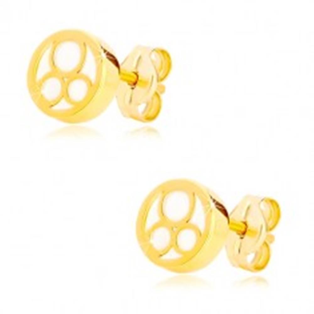 Šperky eshop Náušnice v žltom zlate 585 - krúžok s naturálnou perleťou a troma prstencami