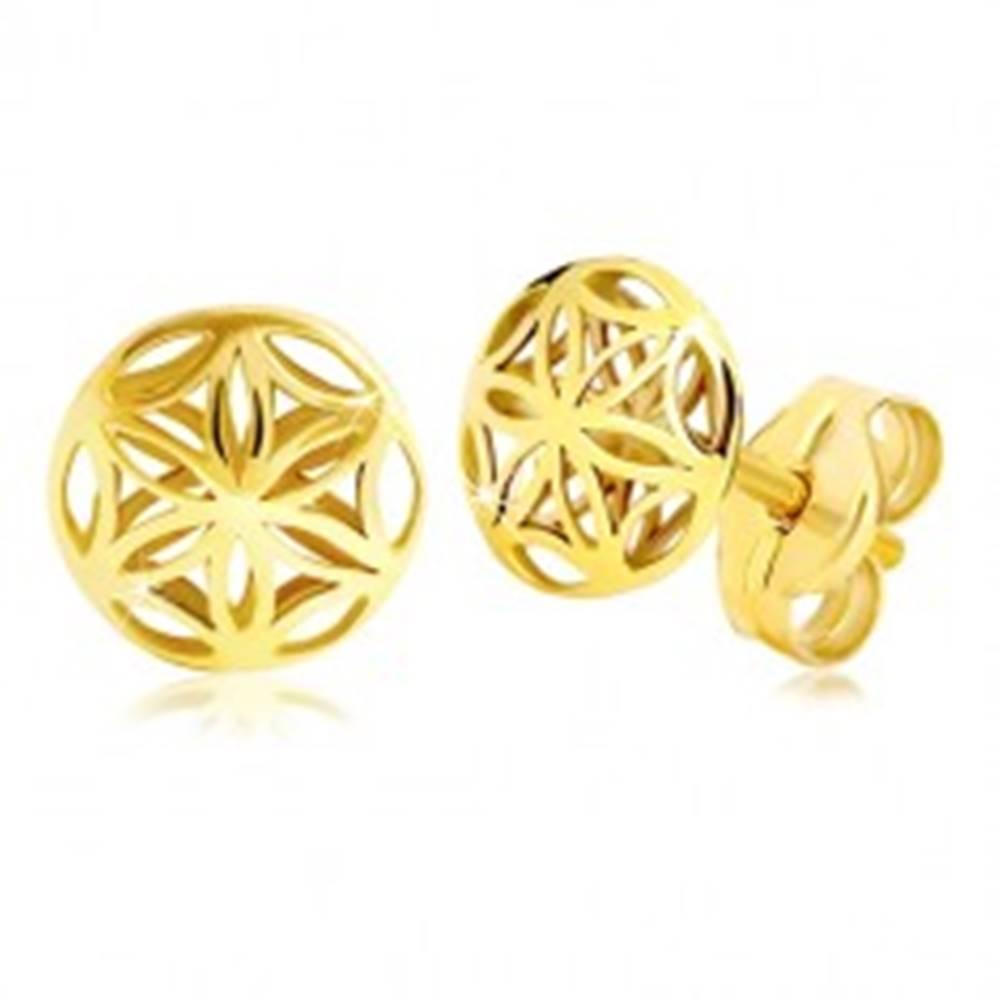 Šperky eshop Náušnice v žltom zlate 585 - lesklý vyrezávaný kvietok, puzetky
