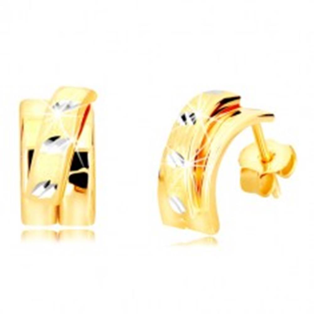 Šperky eshop Náušnice z kombinovaného 14K zlata - širší oblúk s matným polkruhom, puzetky
