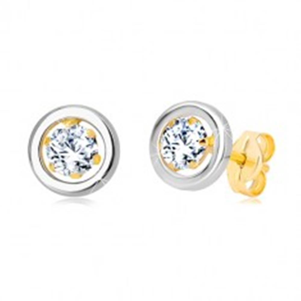 Šperky eshop Náušnice zo 14K zlata - okrúhly zirkón v kotlíku a kruh z bieleho zlata