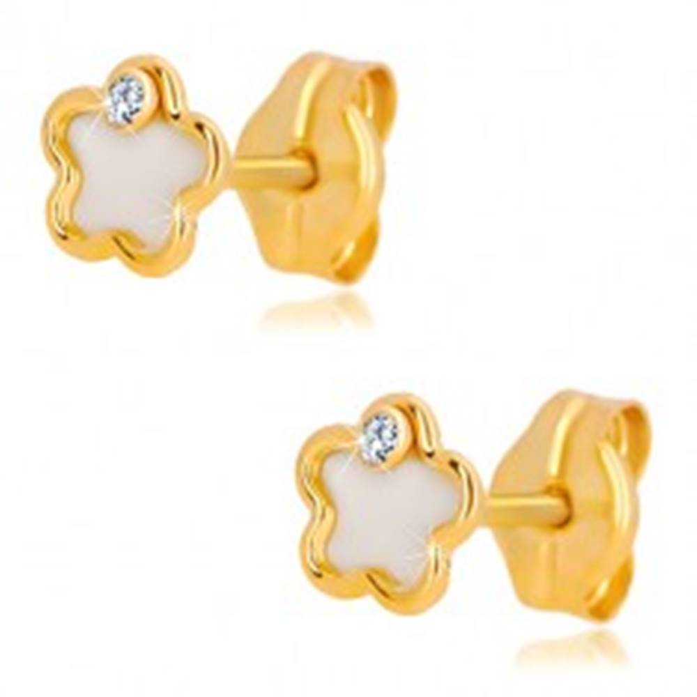 Šperky eshop Náušnice zo 14K žltého zlata - kvet s prírodnou perleťou a zirkónom