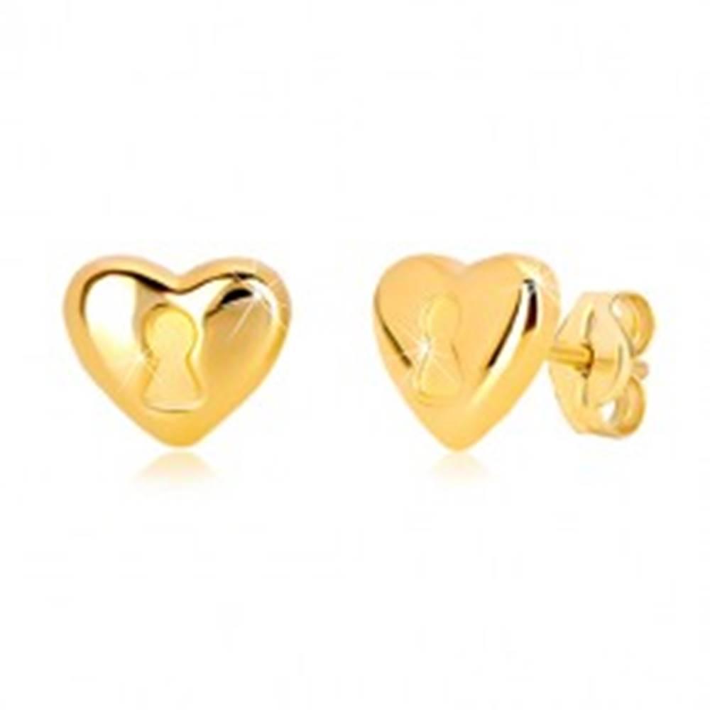 Šperky eshop Náušnice zo 14K žltého zlata - srdce s kľúčovou dierkou, puzetové zapínanie