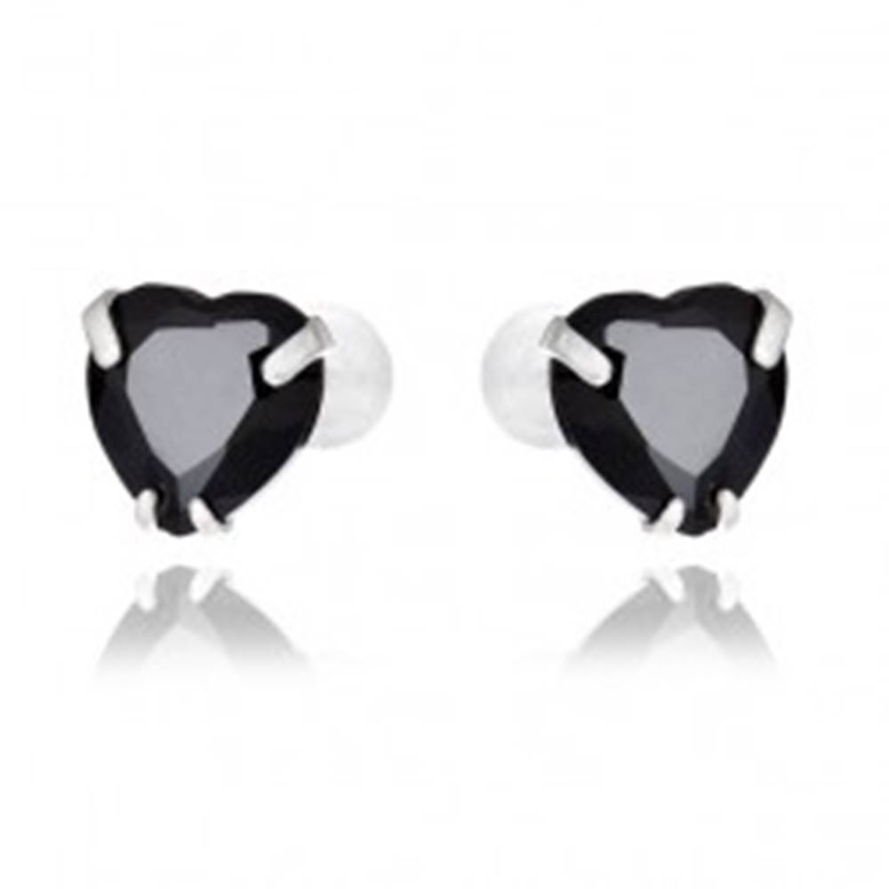 Šperky eshop Náušnice zo striebra 925 - čierne zirkónové srdce, 7 mm