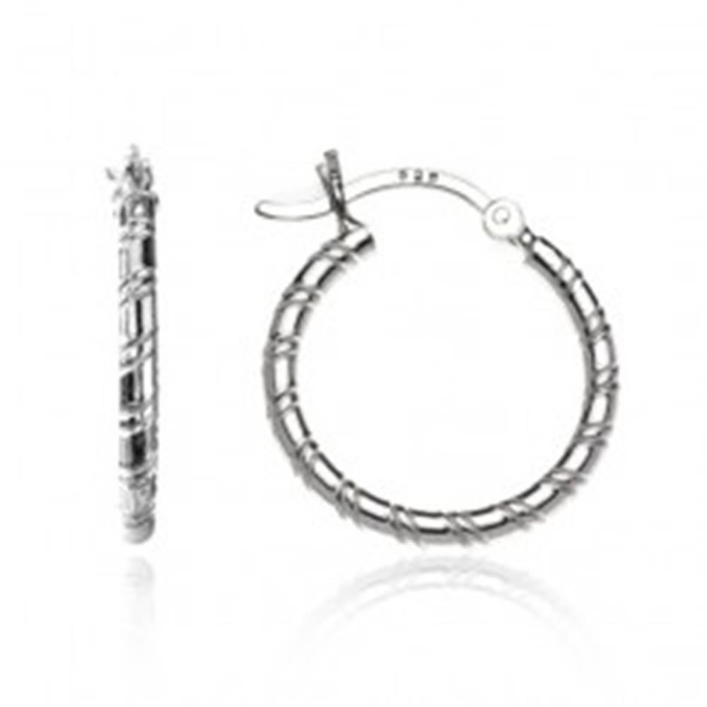 Šperky eshop Náušnice zo striebra 925 - kruhy so špirálovým zárezom, 20 mm