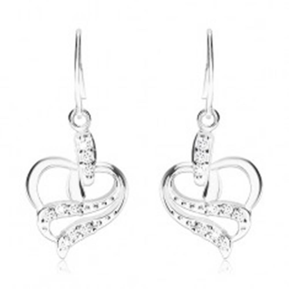 Šperky eshop Náušnice zo striebra 925, obrys srdca so zvlnenými líniami, číre zirkóny