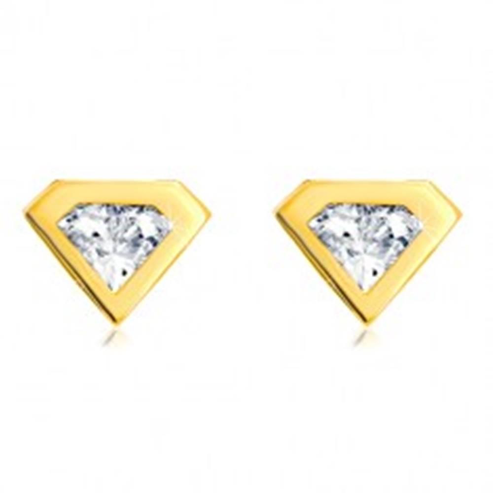 Šperky eshop Náušnice zo zlata 585 - brúsený zirkón so zlatým lemom, motív diamantu