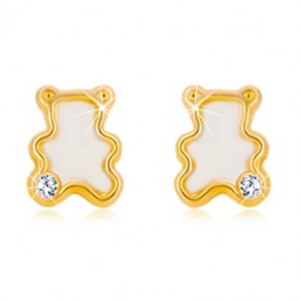 Šperky eshop Náušnice zo žltého 14K zlata - medvedík s naturálnou perleťou a zirkónom