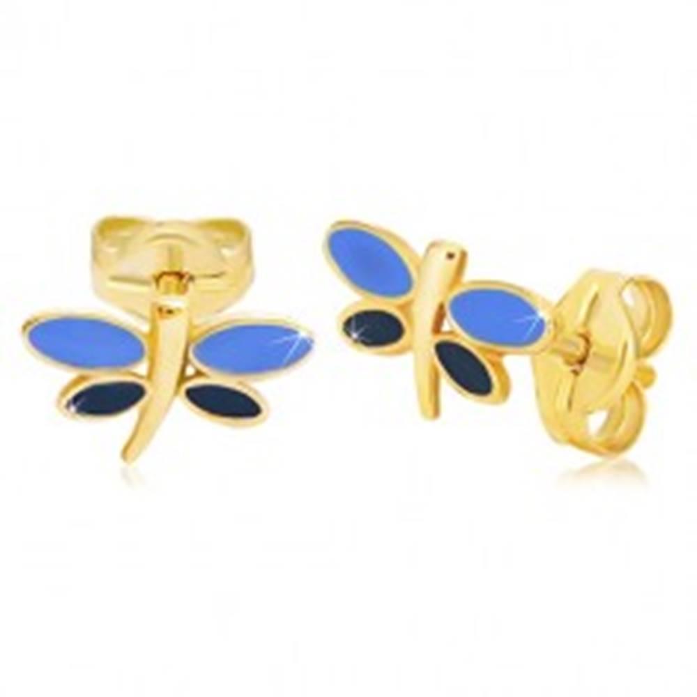 Šperky eshop Náušnice zo žltého 14K zlata - vážka s modrou glazúrou na krídlach