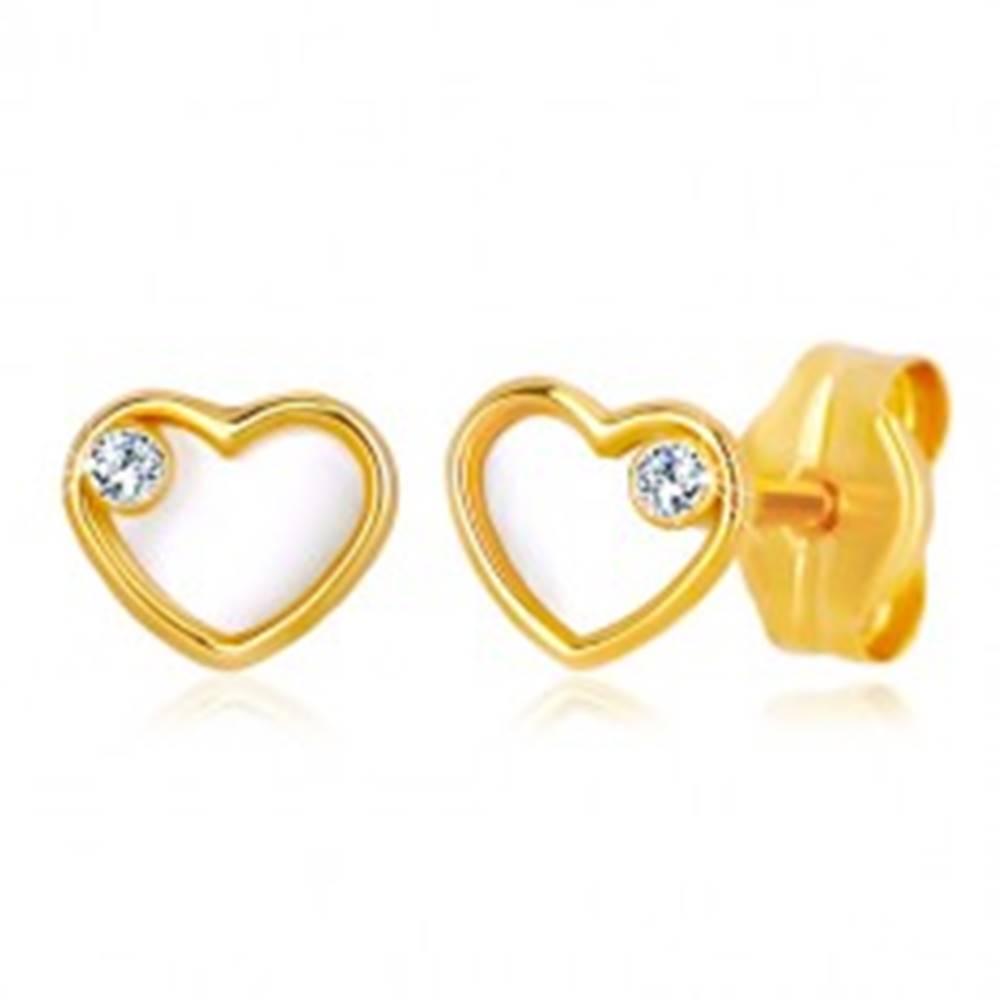 Šperky eshop Náušnice zo žltého zlata 585 - srdce s prírodnou perleťou a zirkónom