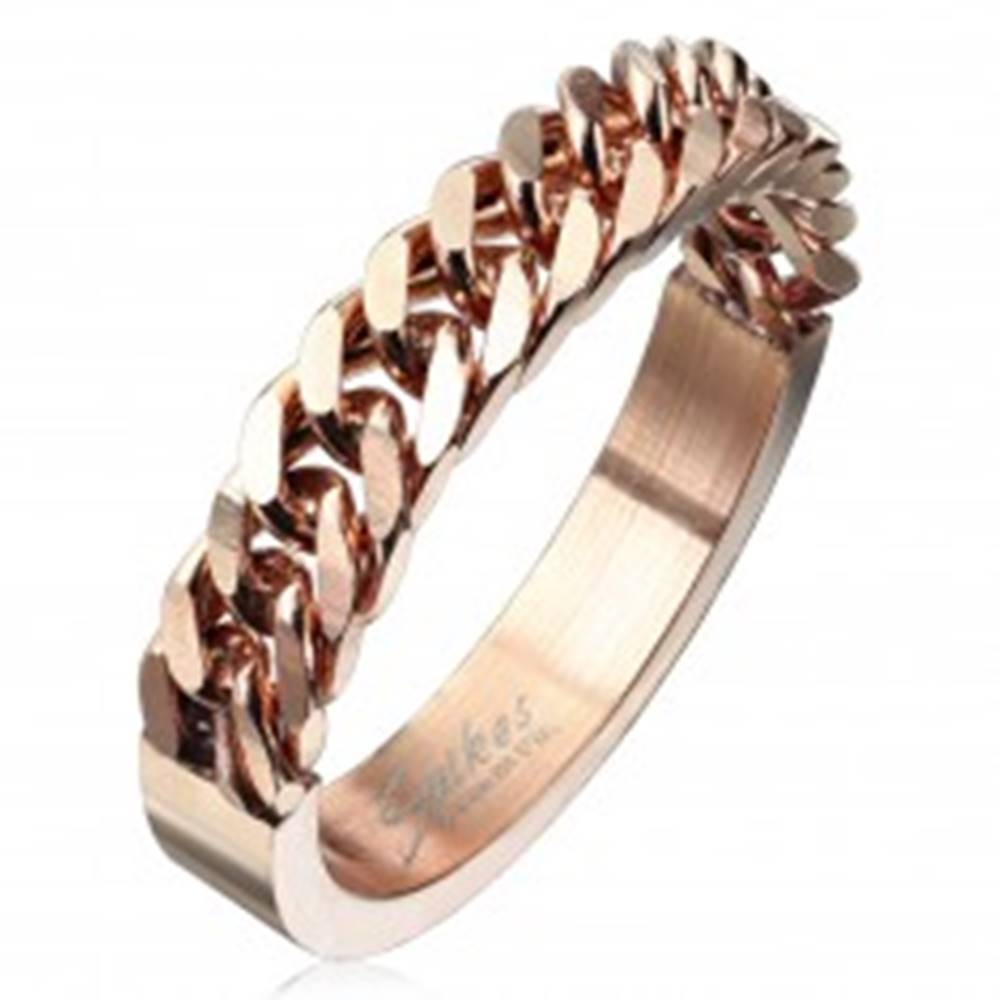 Šperky eshop Obrúčka z chirurgickej ocele medenej farby so vzorom retiazky, 4 mm - Veľkosť: 48 mm