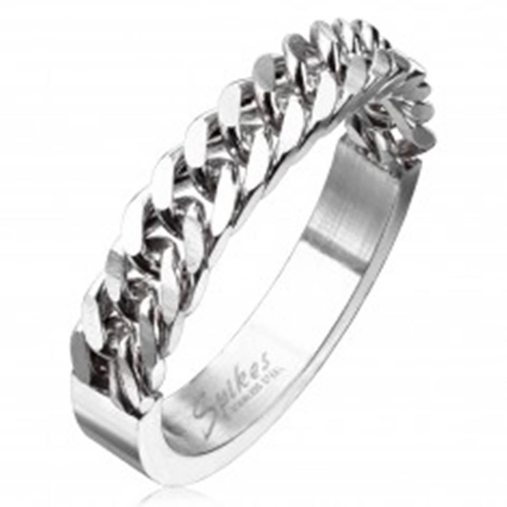 Šperky eshop Obrúčka z ocele striebornej farby s retiazkovým motívom, 4 mm - Veľkosť: 48 mm