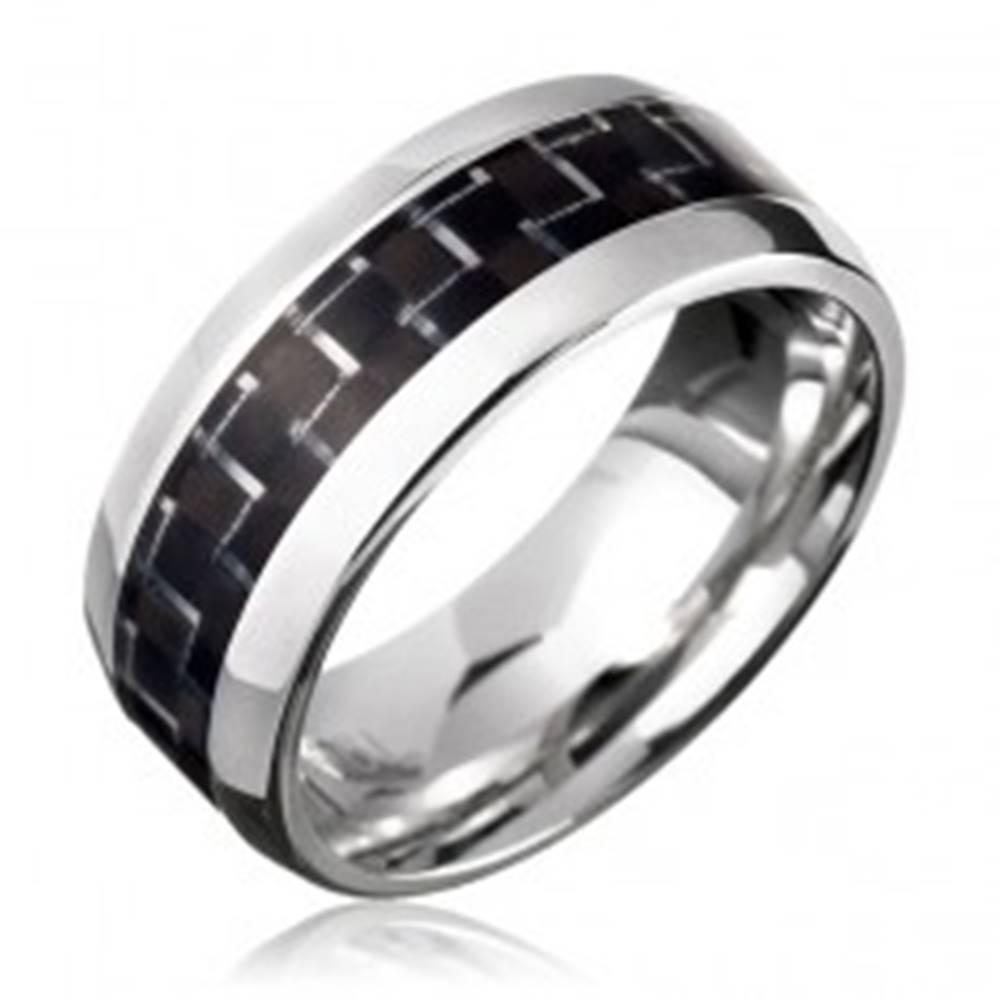 Šperky eshop Oceľový prsteň - čierny karbónový pásik - Veľkosť: 57 mm
