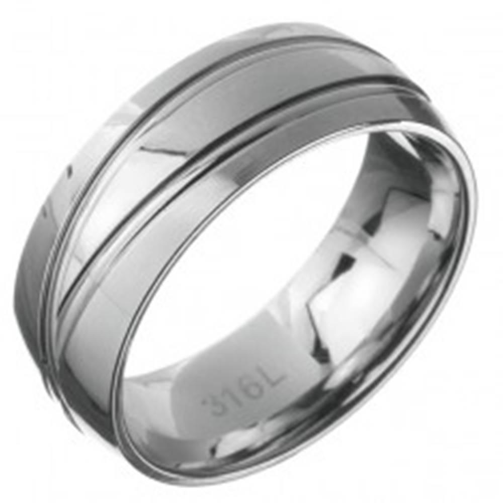 Šperky eshop Oceľový prsteň - obrúčka s dvoma dvojitými čiarami - Veľkosť: 59 mm
