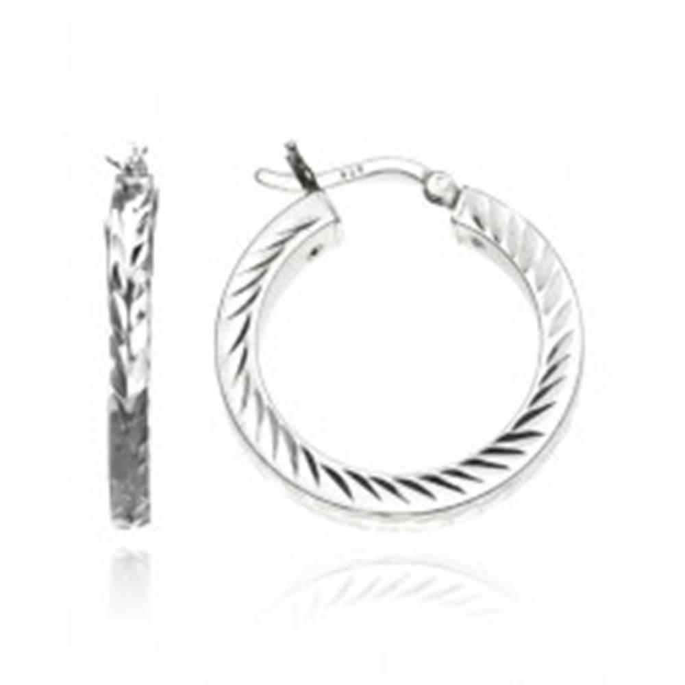 Šperky eshop Okrúhle náušnice zo striebra 925 - gravírované zrnká, 25 mm