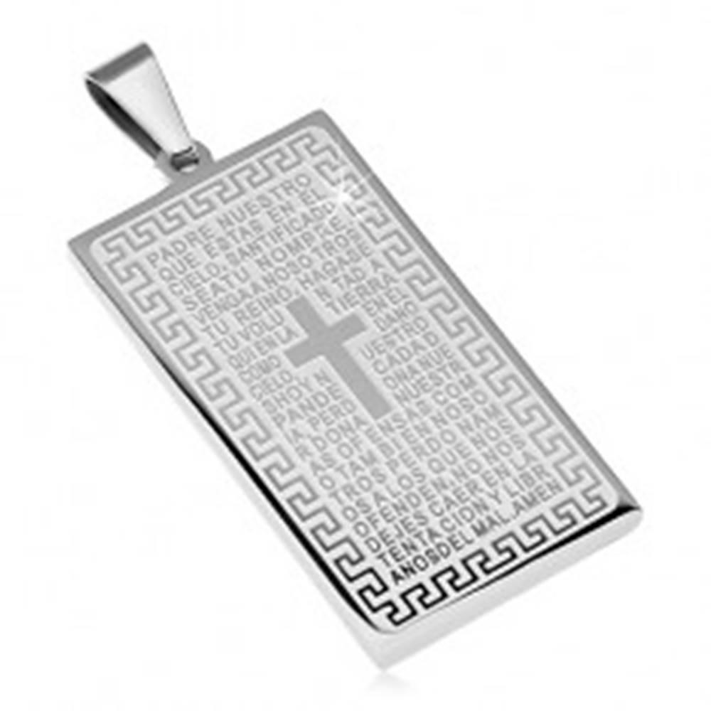 Šperky eshop Prívesok z chirurgickej ocele, obdĺžniková známka s modlitbou a krížom