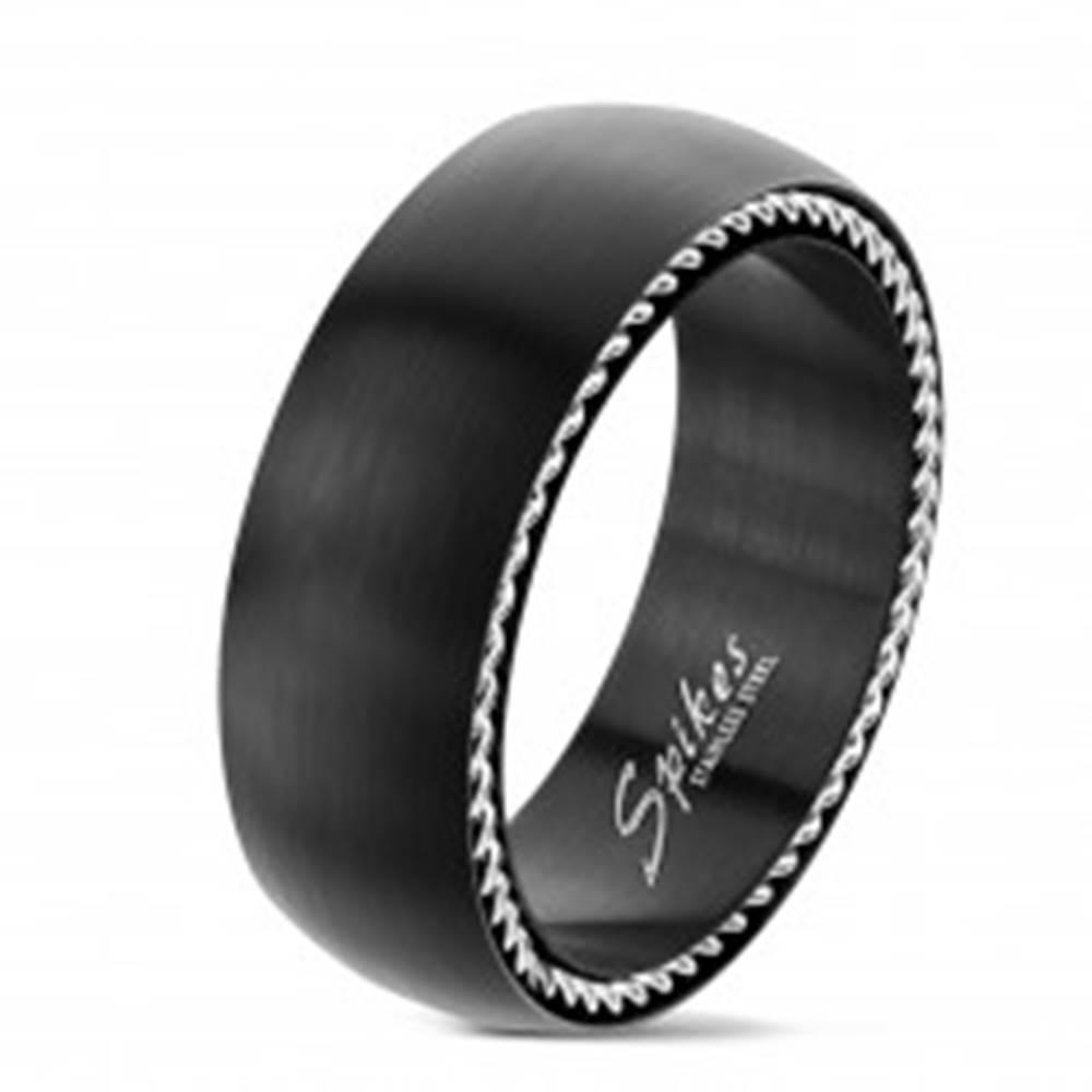 Šperky eshop Prsteň z chirurgickej ocele so špirálami po stranách, čierny matný, 8 mm - Veľkosť: 59 mm