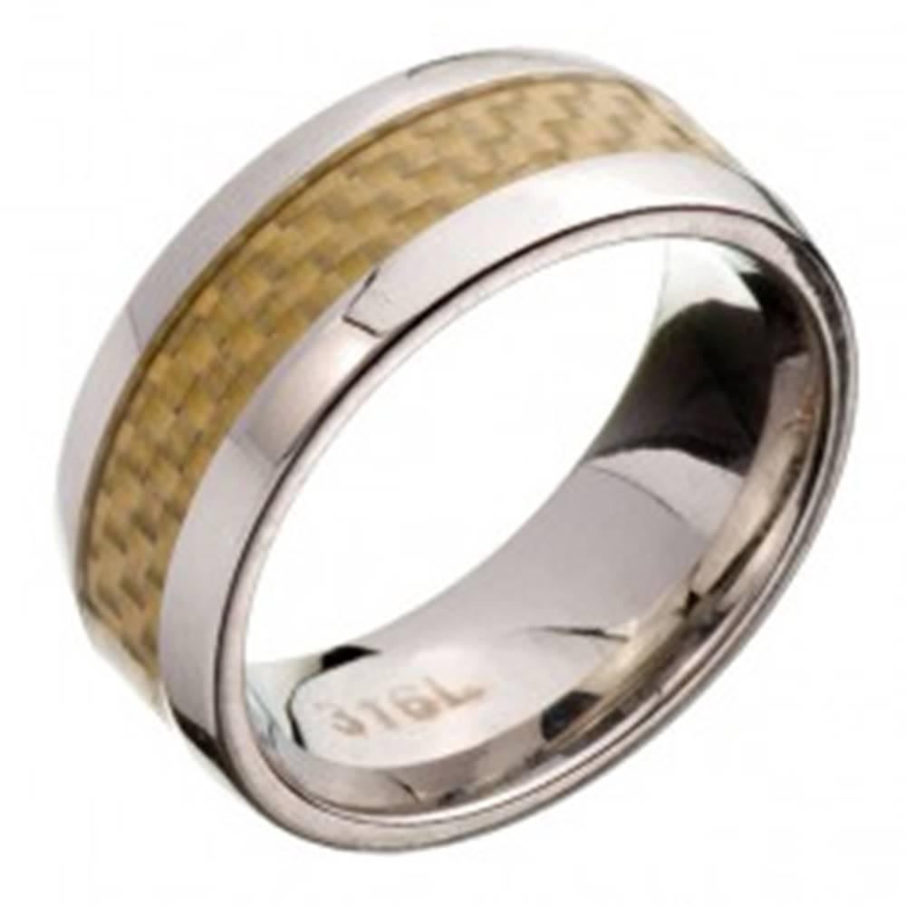 Šperky eshop Prsteň z ocele - obrúčka, žltý karbónový pás - Veľkosť: 57 mm