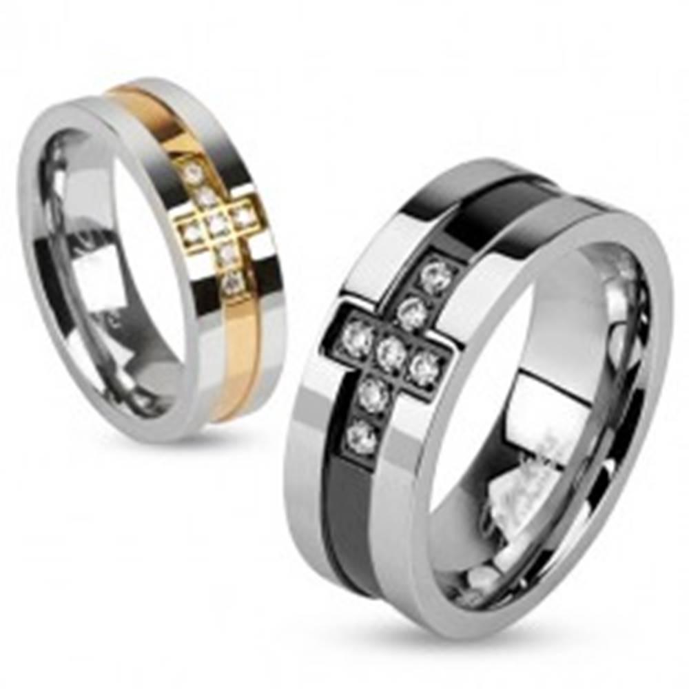 Šperky eshop Prsteň z ocele so zirkónovým krížom a pásom medenej farby, 6 mm - Veľkosť: 49 mm