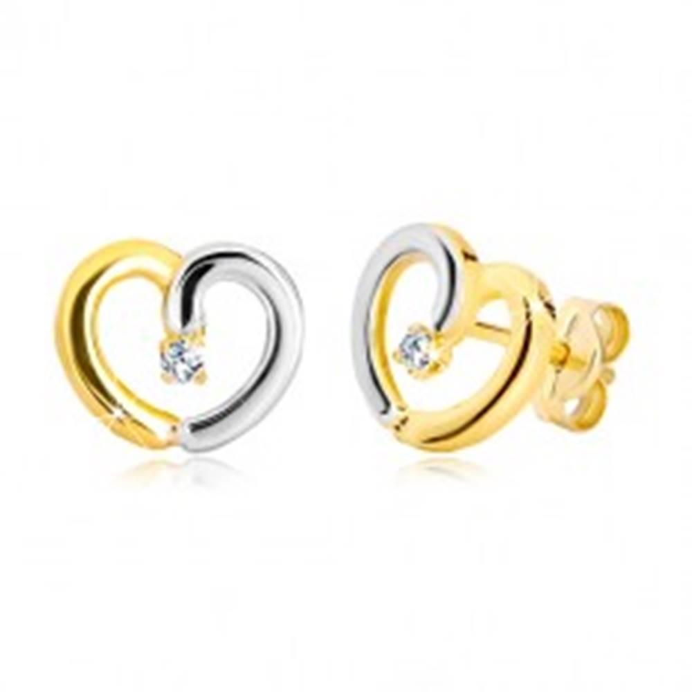 Šperky eshop Puzetové náušnice v 14K zlate - dvojfarebná kontúra srdca so zirkónikom