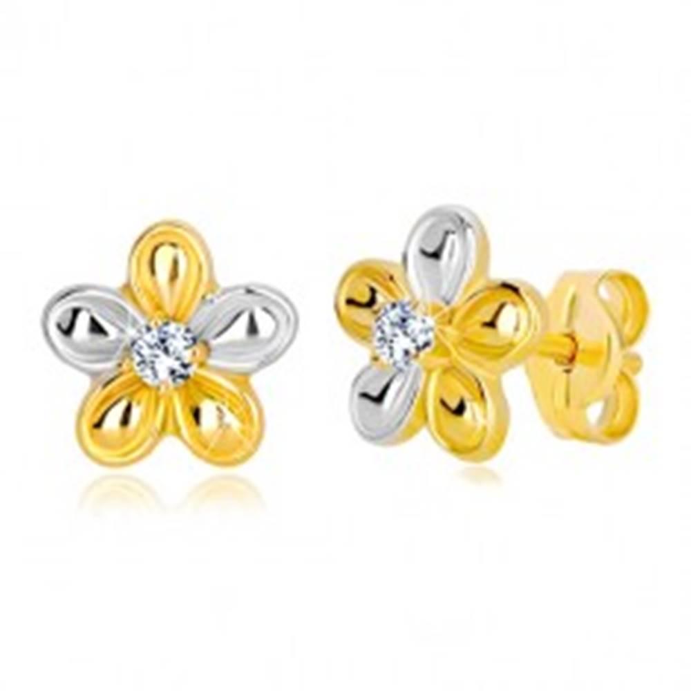 Šperky eshop Puzetové náušnice v 14K zlate - dvojfarebný kvet so zirkónom čírej farby