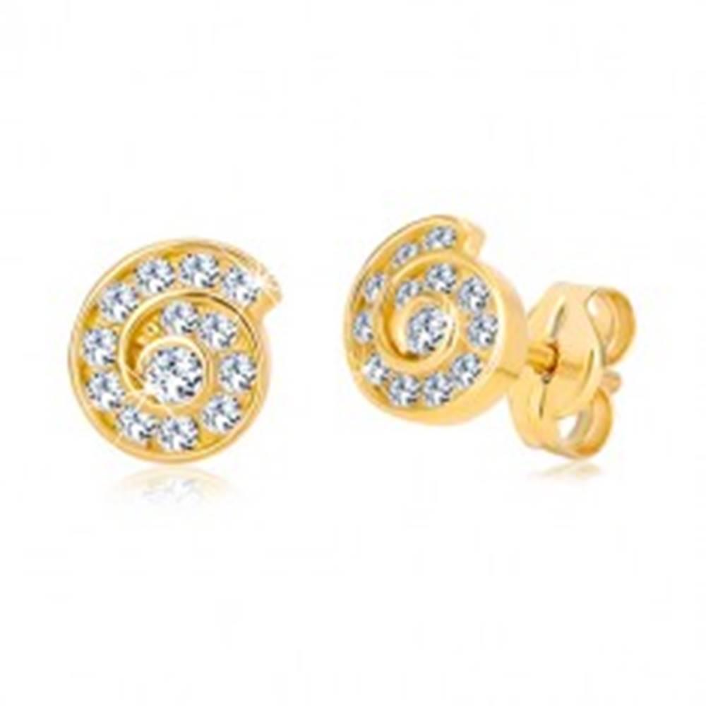 Šperky eshop Puzetové náušnice v žltom 14K zlate - špirála vykladaná zirkónmi