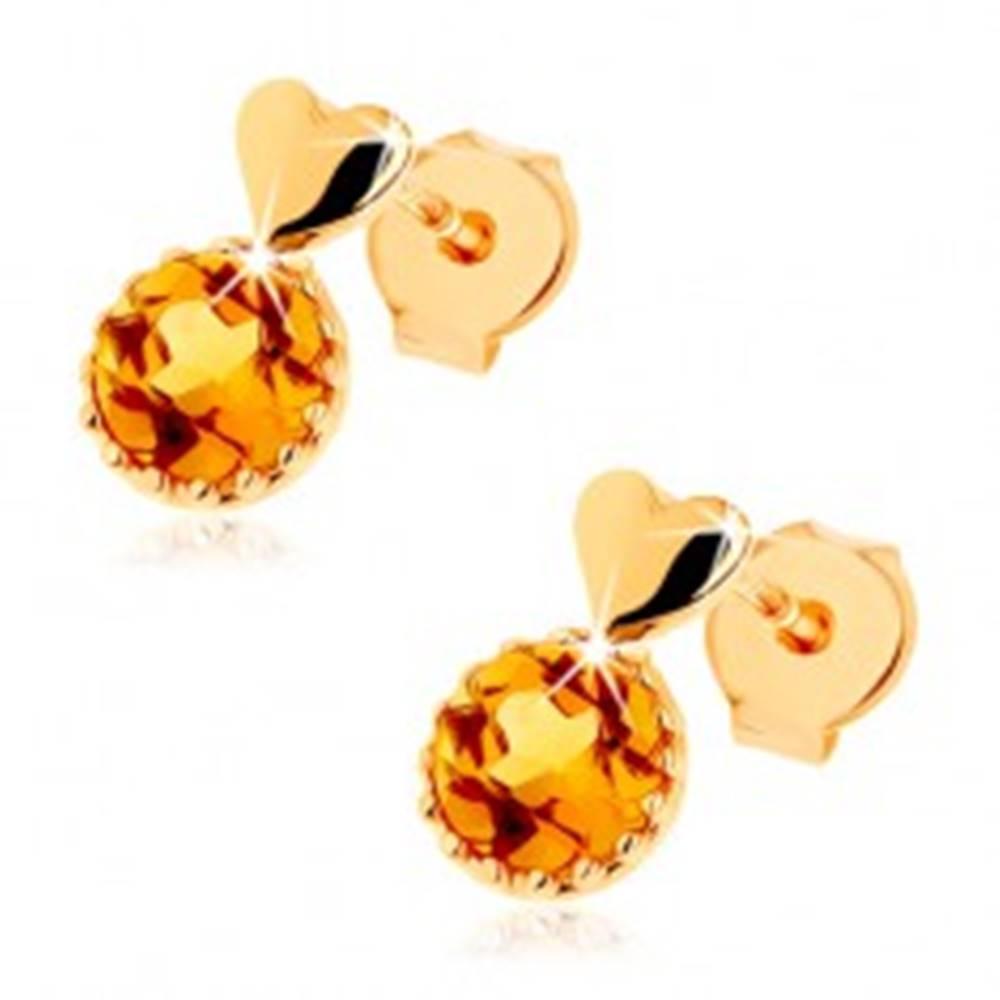 Šperky eshop Puzetové náušnice zo žltého 14K zlata - malé vypuklé srdce, okrúhly žltý citrín