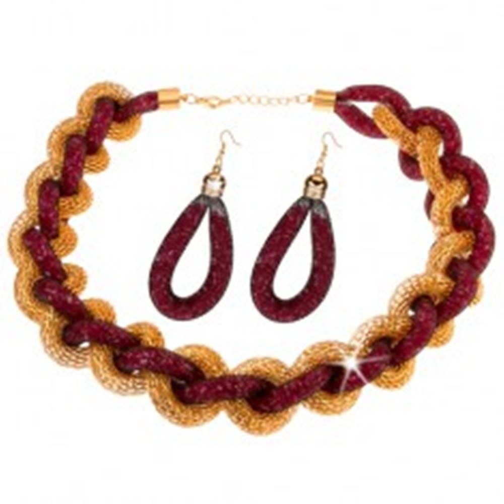 Šperky eshop Sada - náhrdelník, náušnice, zapletená reťaz, sieťka, ružové korálky