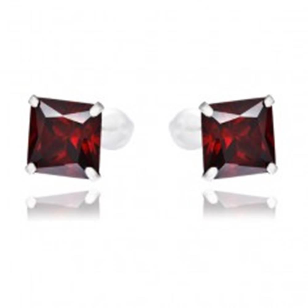 Šperky eshop Strieborné náušnice 925 - červené štvorcové zirkóny, 7 mm