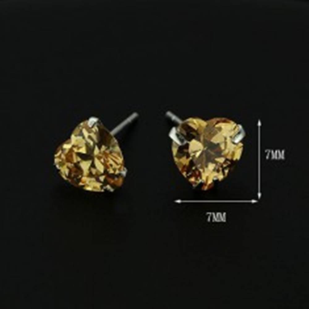 Šperky eshop Strieborné náušnice 925 - jantárové srdce zo zirkónu, 7 mm