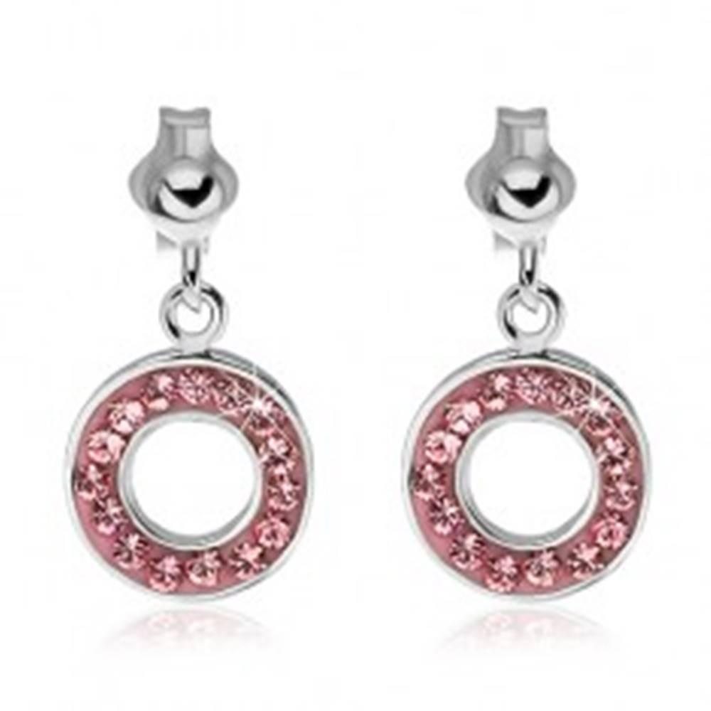 Šperky eshop Strieborné puzetové náušnice 925 - visiaci kruh s ružovými zirkónmi