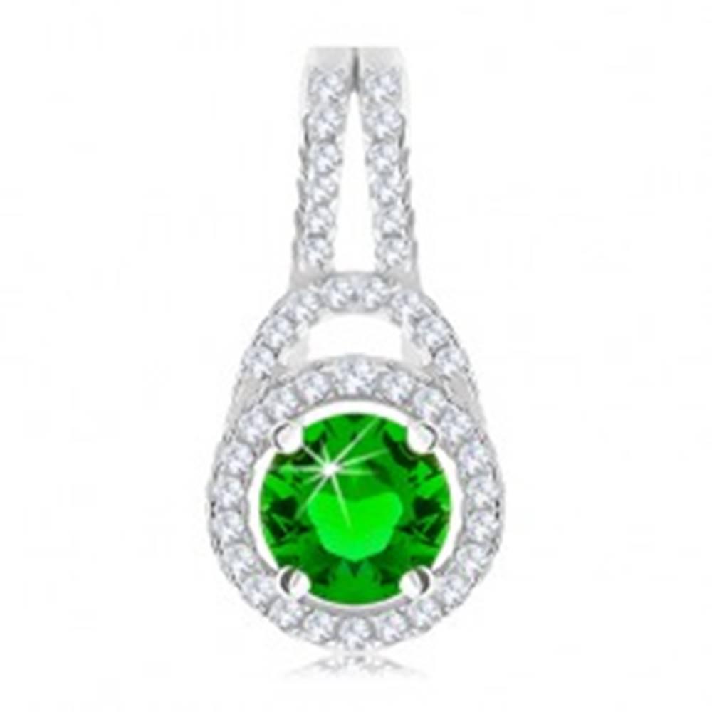 Šperky eshop Strieborný 925 prívesok, okrúhly zelený zirkón lemovaný čírym okrajom