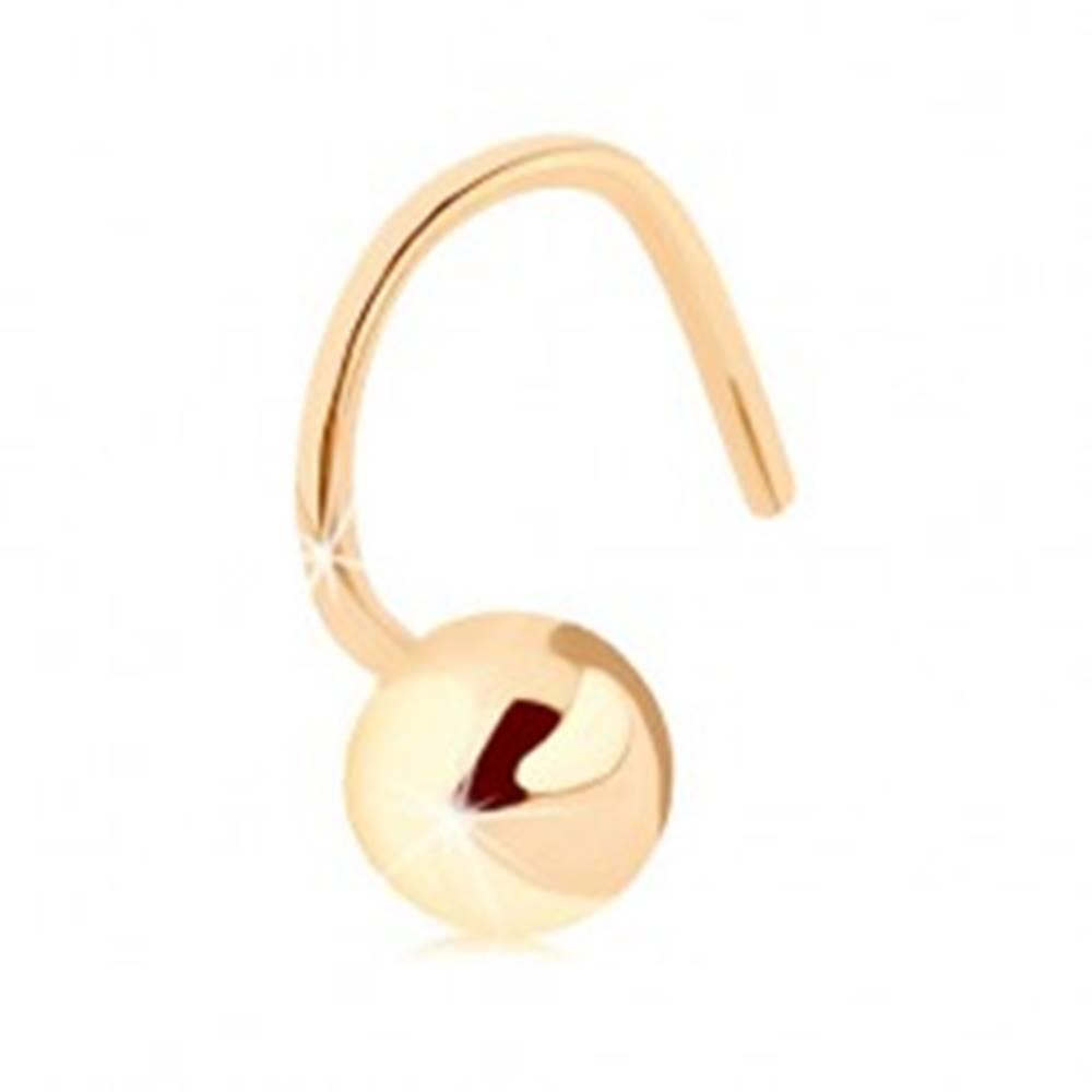 Šperky eshop Zahnutý piercing do nosa v žltom 14K zlate - lesklá pologulička