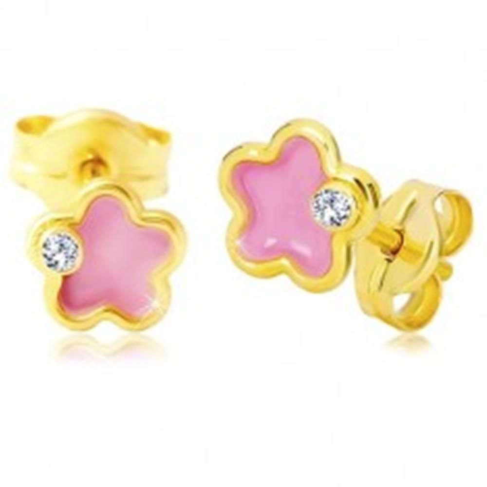 Šperky eshop Zlaté 14K náušnice, kvietok s ružovou glazúrou a zirkónom
