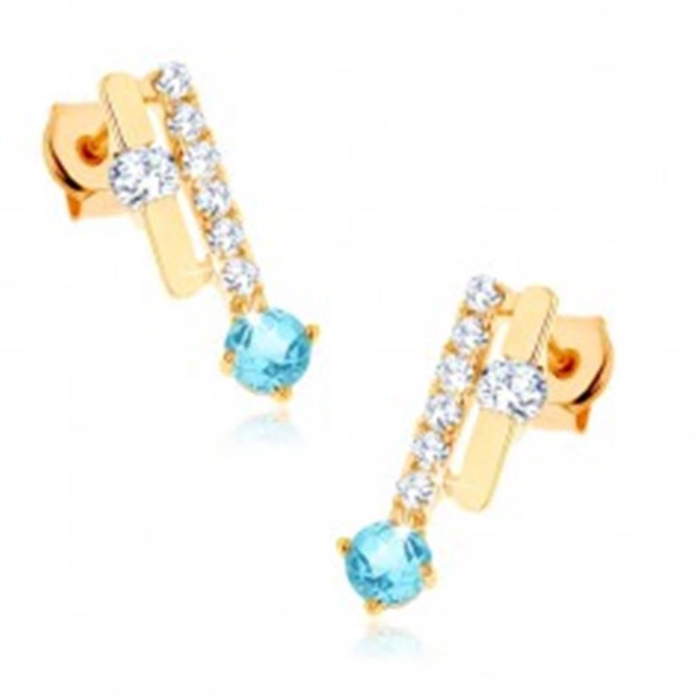 Šperky eshop Zlaté náušnice 585 - dva pásiky, ligotavý modrý topás, číre zirkóny