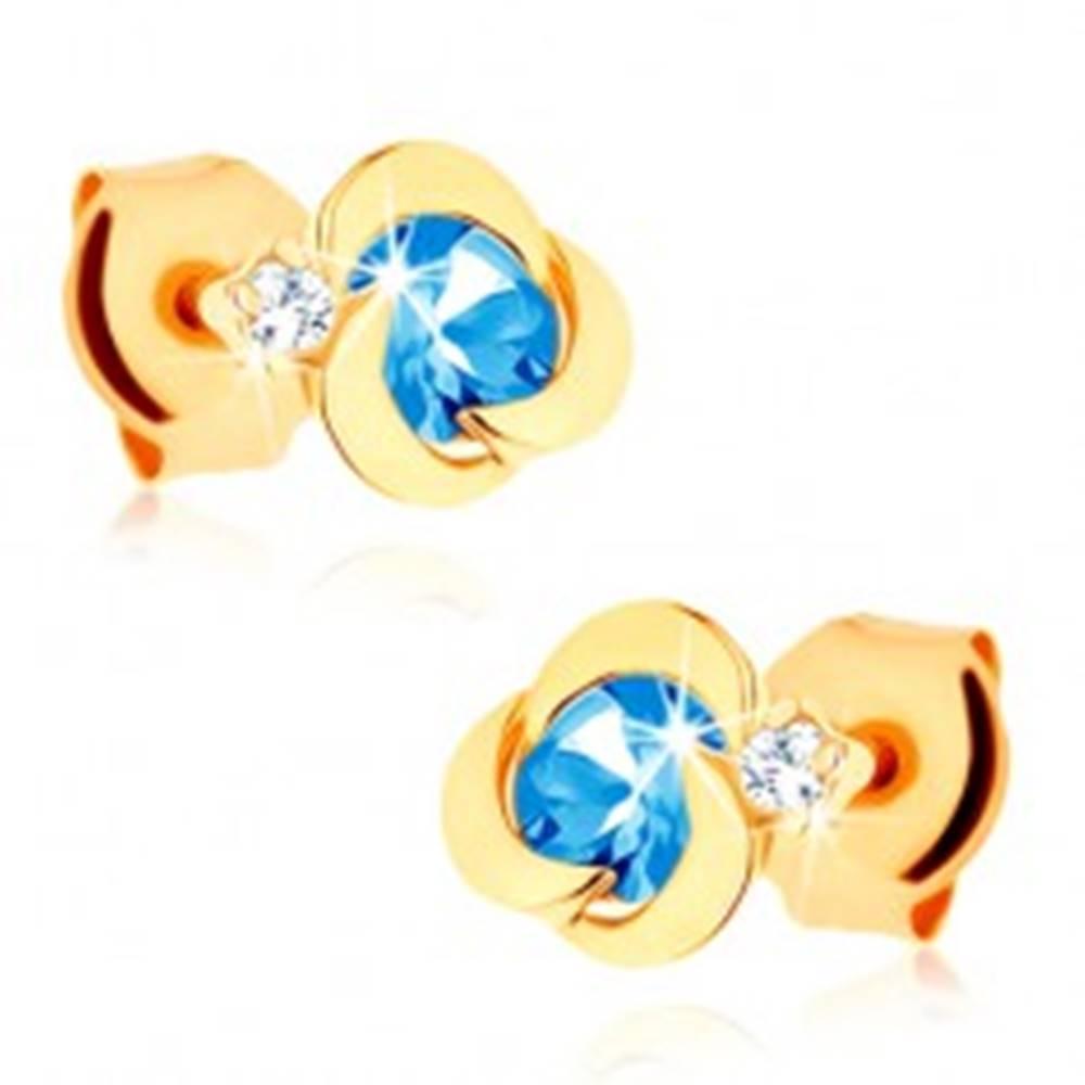 Šperky eshop Zlaté náušnice 585 - kvietok s oblými lupeňmi, modrý topásový stred