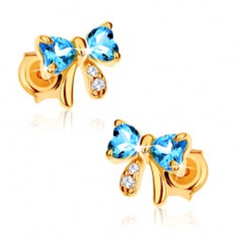 Šperky eshop Zlaté náušnice 585 - modrá topásová mašlička, číre zirkóny