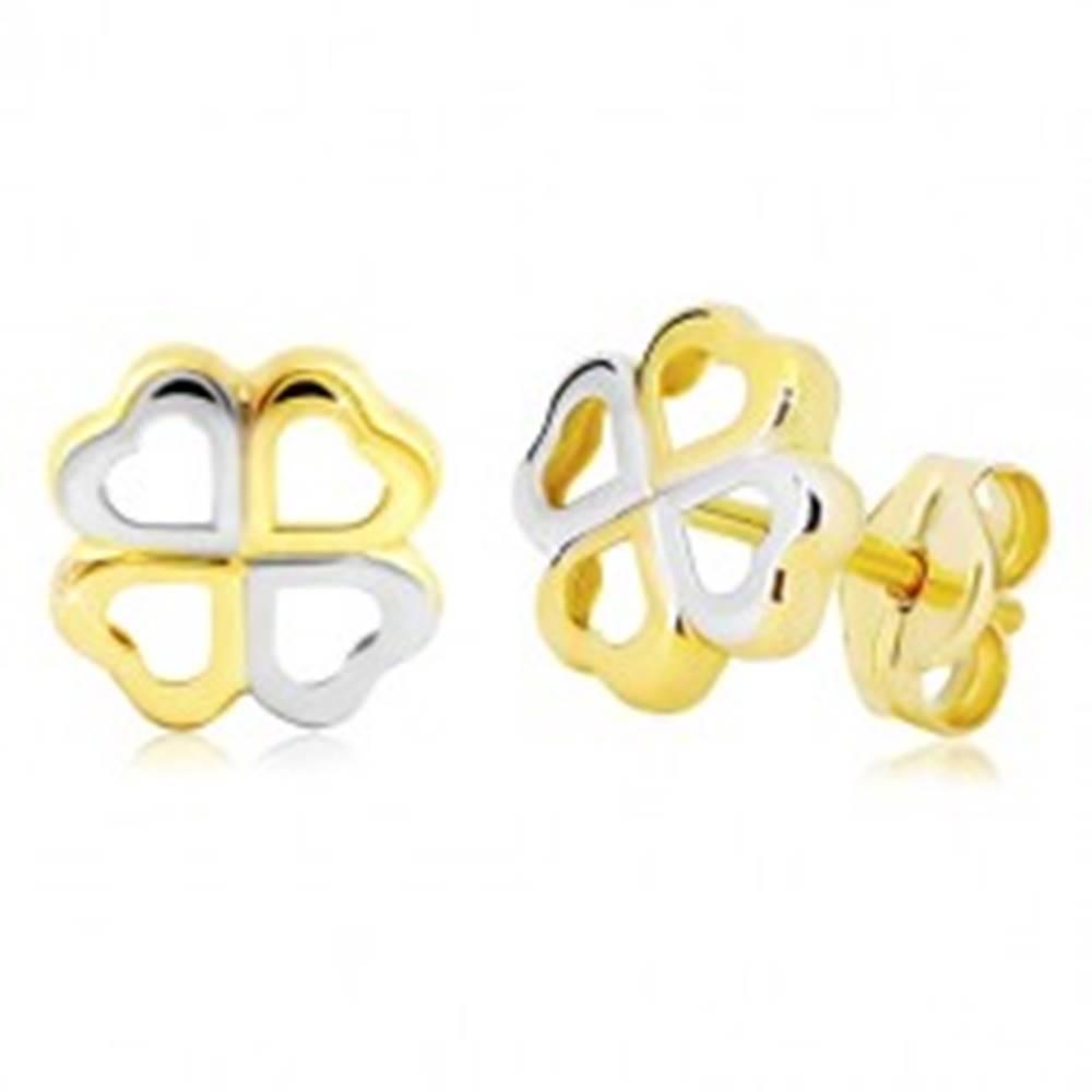 Šperky eshop Zlaté náušnice 585 - štvorlístok pre šťastie z dvojfarebných srdiečok