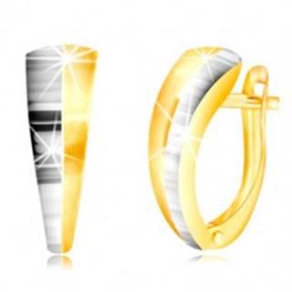 Náušnice v kombinovanom zlate 585 - asymetrický oblúk, polovica v bielom zlate