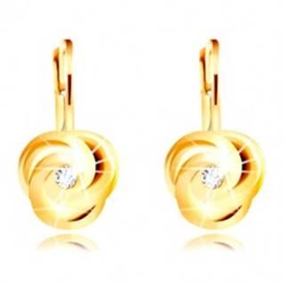Náušnice v žltom 14K zlate - tri špirálovito zatočené lupienky, okrúhly zirkónik