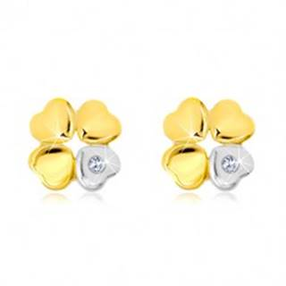 Náušnice zo 14K zlata - štvorlístok pre šťastie, srdiečko so zirkónom