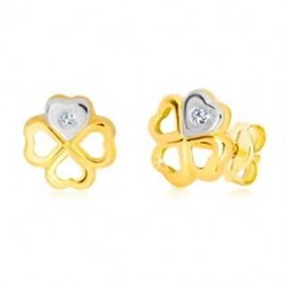 Náušnice zo 14K zlata - symbol šťastia, srdiečko v bielom zlate a briliant