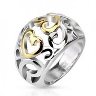 Oceľový prsteň s vyrezávaným ornamentom, zlato-strieborná farba - Veľkosť: 49 mm