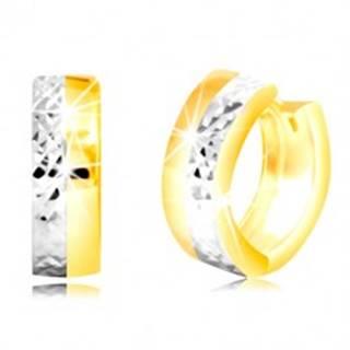 Okrúhle náušnice v kombinovanom zlate 585 s vybrúsenou polovicou