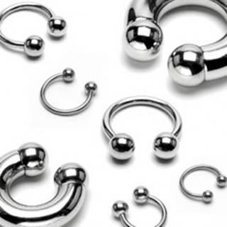 Piercing z ocele 316L - jednoduchá podkova striebornej farby, guličky, hrúbka 2,5 mm - Hrúbka x priemer x veľkosť guličky: 2,5 mm x 10 mm x 4 mm
