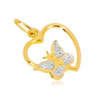 Prívesok v kombinovanom 14K zlate - lesklý obrys srdca, motýlik