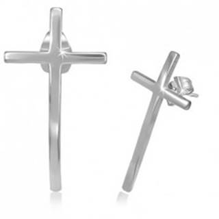 Puzetové náušnice z chirurgickej ocele - úzky kríž s lesklým povrchom