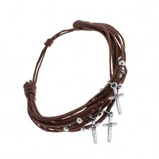 Šnúrkový náramok čokoládovo hnedej farby, guličky a krížiky z ocele